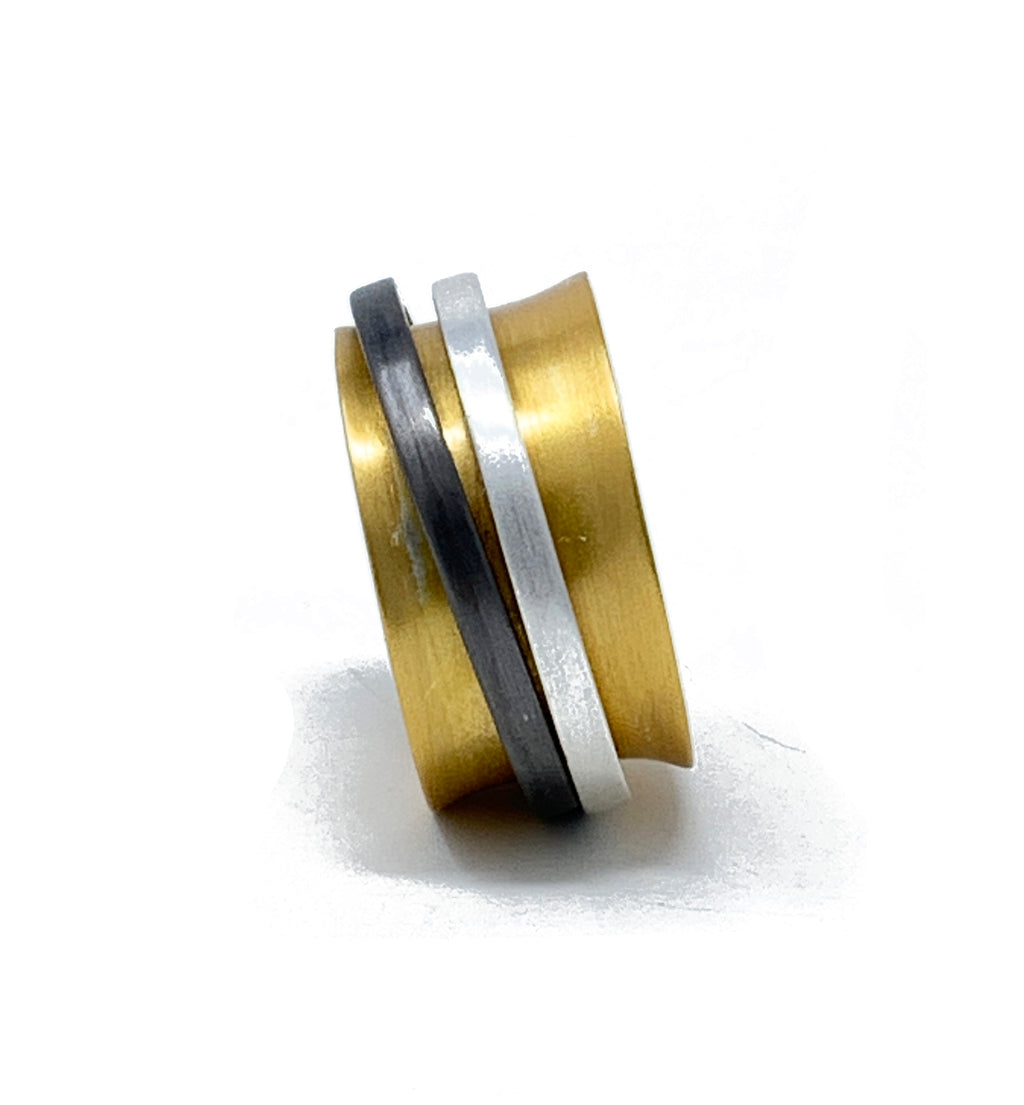 two rings gold plated brass