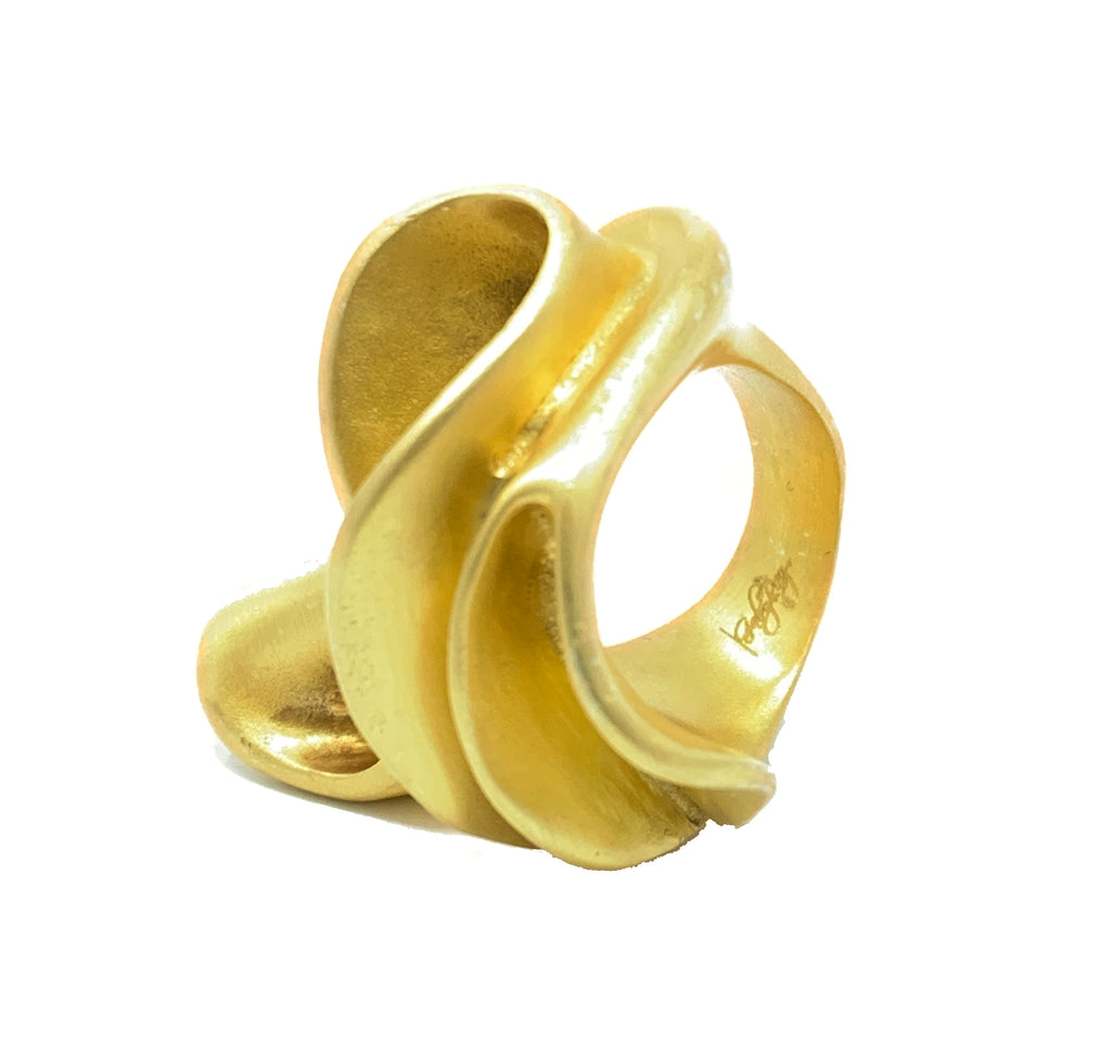 waves rings gold plated