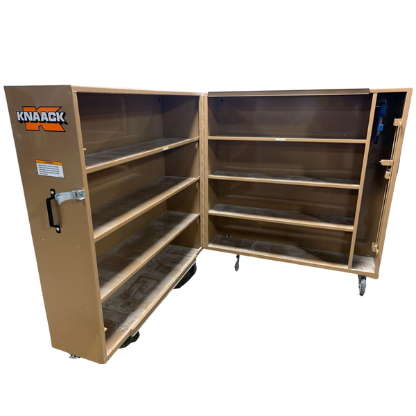 "Knaack 100 60"" x 30"" x 65"" Rolling Bi-fold Clam Shell Storage Cabinet with Casters- Remanufactured"