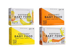 White Leaf Provisions Organic Biodynamic Baby Food - 12 Pouches each of Mango, Carrot, Banana & Pear and Carrot, Sweet Potato & Pea, 3.17 oz