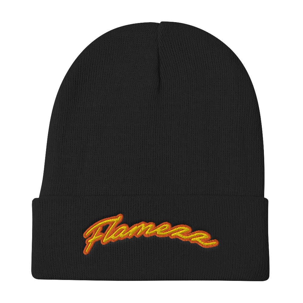 Flamezz Embroidered Beanie - TrapMonkie Aesthetic Clothing, Monkey Streetwear, Trap Shop, Trap Fits, Custom Skateboards, Monkey Gear