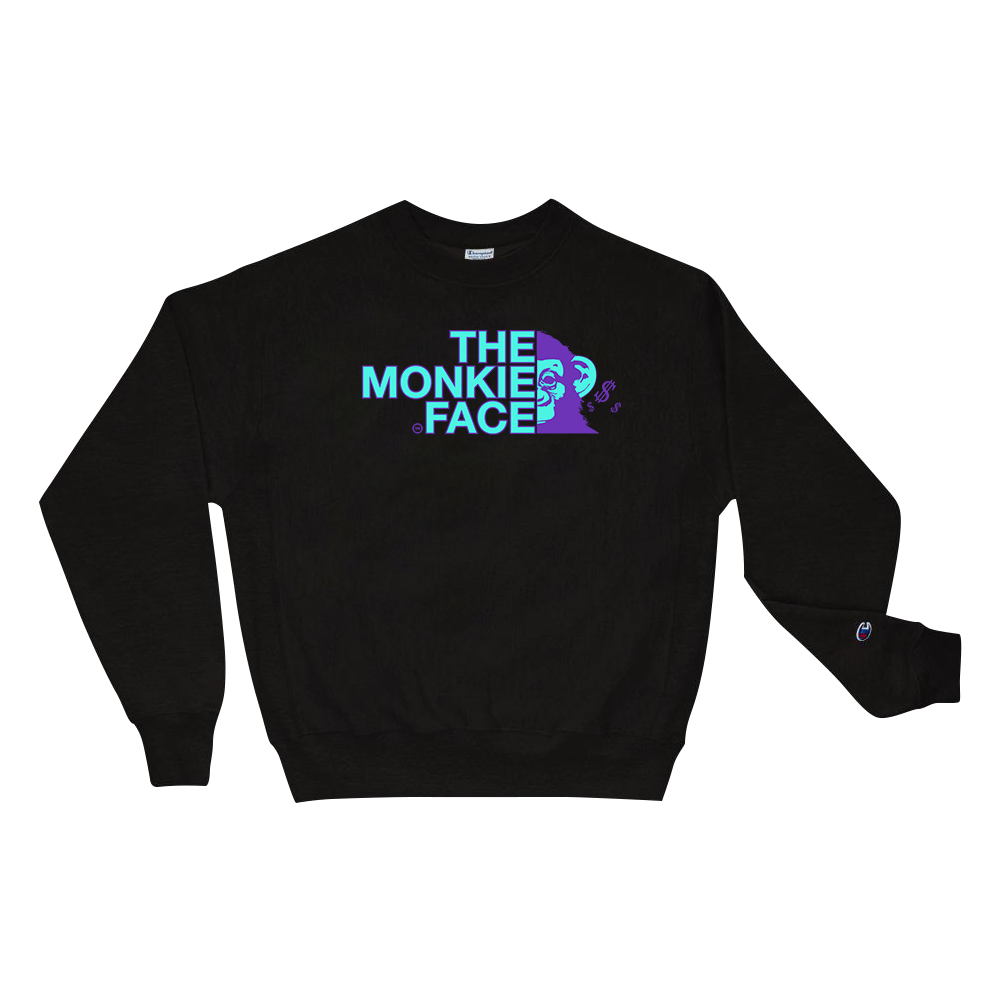 Monkie Face Champion Sweatshirt - TrapMonkie Aesthetic Clothing, Monkey Streetwear, Trap Shop, Trap Fits, Custom Skateboards, Monkey Gear