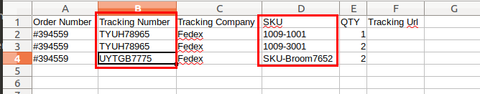 Multiple Tracking Numbers