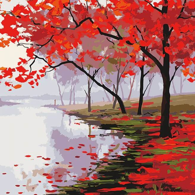 Autumn Trees by the Lake