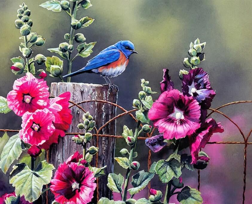 Bird in the Flower Garden