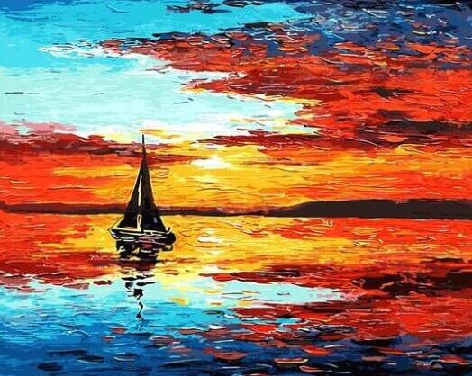 Sunset & Sailing Boat