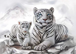White Tiger with Little Cub