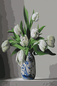 White Tulips Paint by Numbers