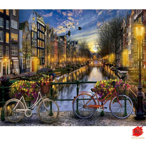 Paint By Numbers - Venice Night View Painting With Bicycles