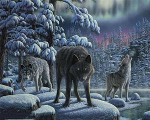 Wolves in the Night Painting