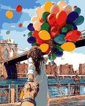 Load image into Gallery viewer, Traveler with Balloons at Brooklyn Bridge New York