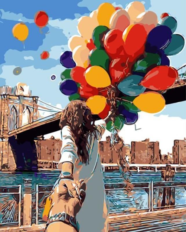 Traveler with Balloons at Brooklyn Bridge New York
