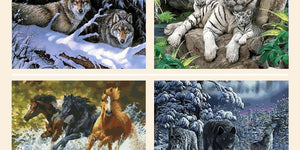 Framed Tigers, Horses, Wolves and Other Animal Paintings