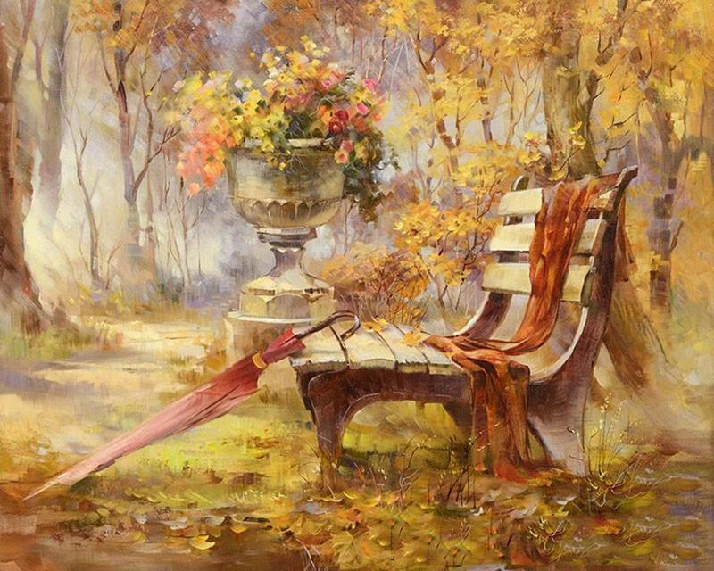 Autumn Garden and Bench Painting