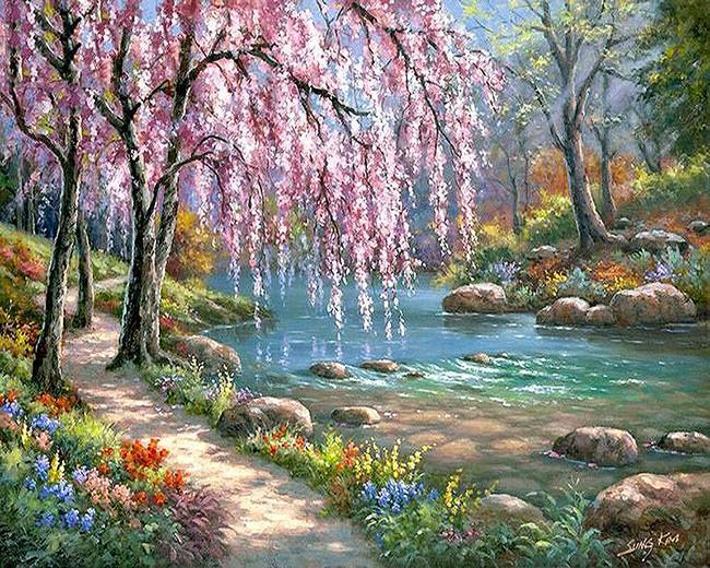 Beautiful River and Flowers Painting