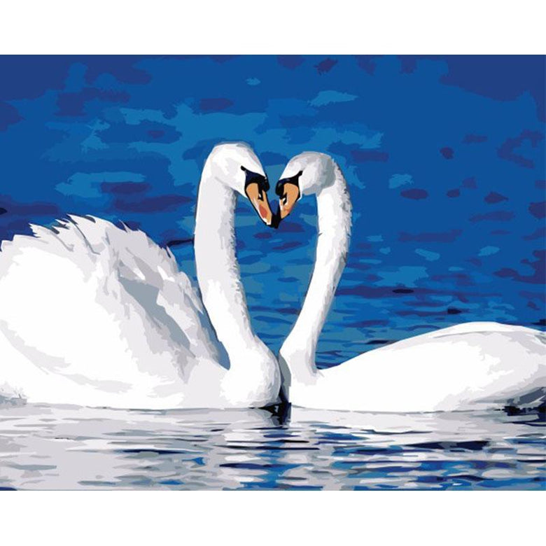 Swan Couple Forming Heart Paint by numbers