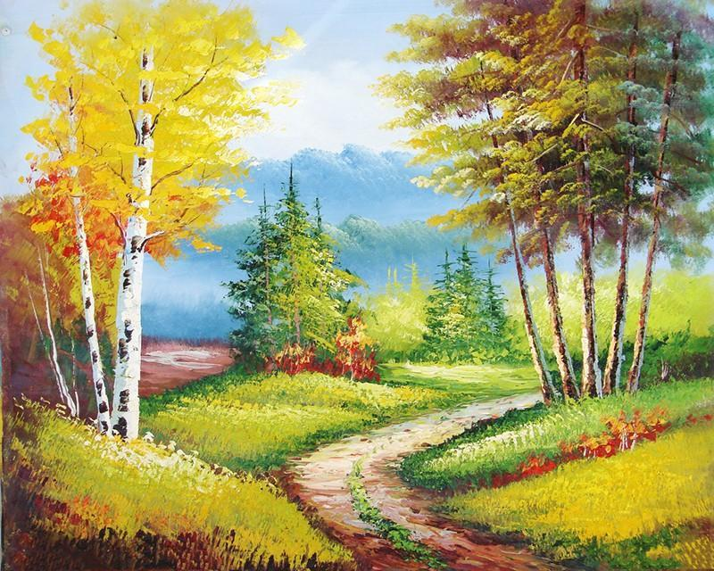 Countryside Fields and Trees Painting