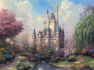 Rainbow and Castle in the Forest Painting