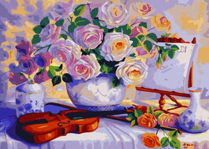 Flower Vase & Guitar on Table