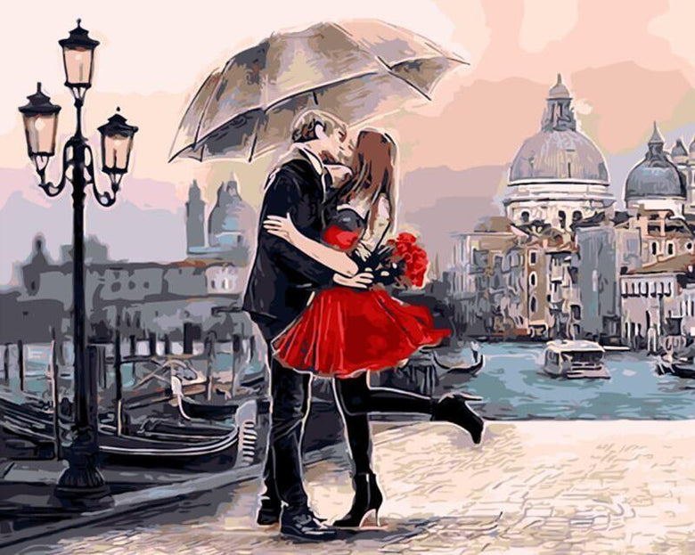 Romantic Kiss Painting - Paint by Digits