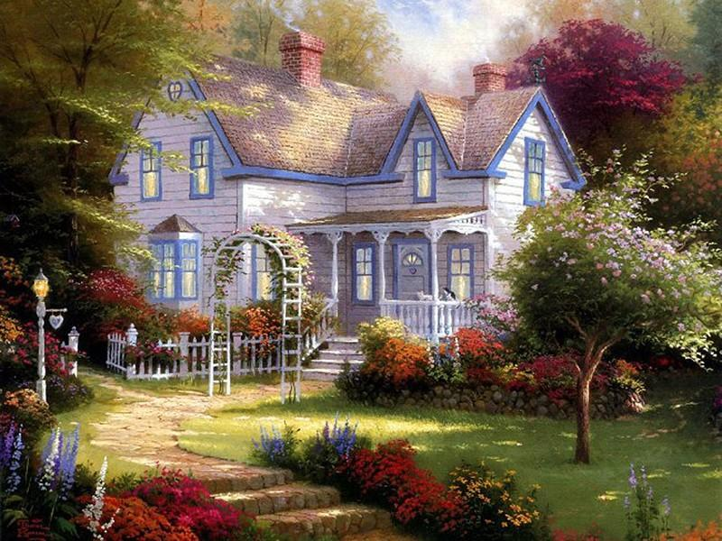 Beautiful House in the Forest, Colorful Flowers