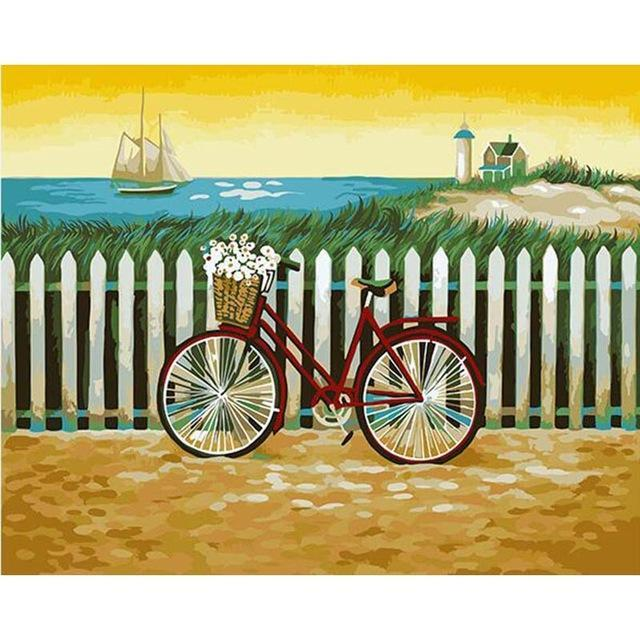 A Beautiful Painting for Bicycle, Ship and a House - Paint it and Hang on Your Wall