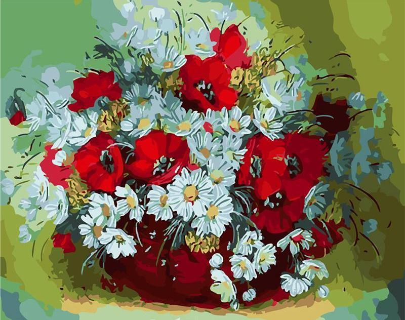 Red and White Beautiful Flowers Paint by Numbers Kit for Adults