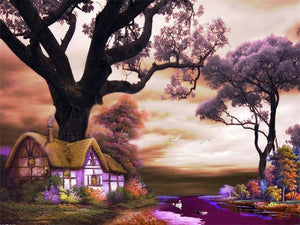 Beautiful House by the River Painting by Numbers