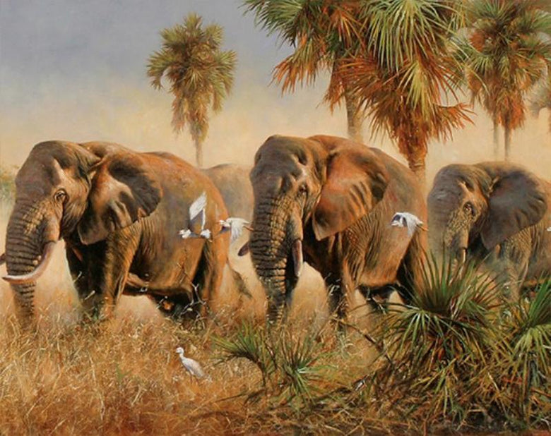DIY Elephants Oil Painting
