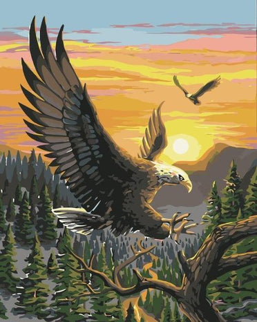 Eagles Painting by Numbers Kit - Flying Eagles
