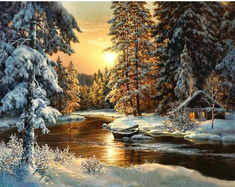 Sun set in the Snow Forest - DIY Order today