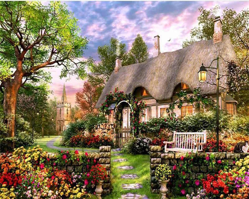 Beautiful House and Garden Painting