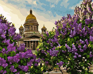 saint isaac's cathedral Landscape with Purple Flowers
