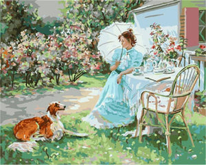 A Lady with her Dog in Garden
