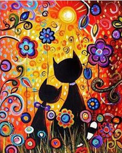 Colorful Flowers and Cats Painting - Paint it Yourself