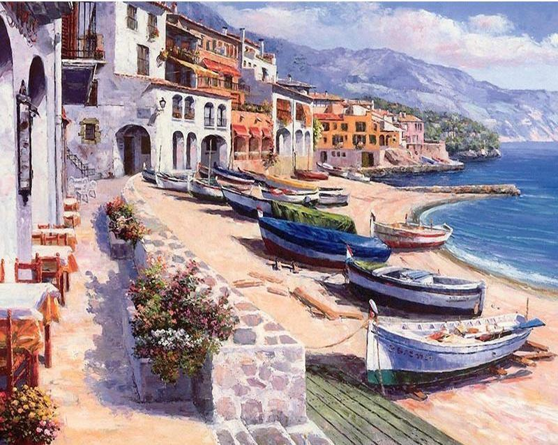 Town on the Beach and Boats Paint by Number Kit for Adults