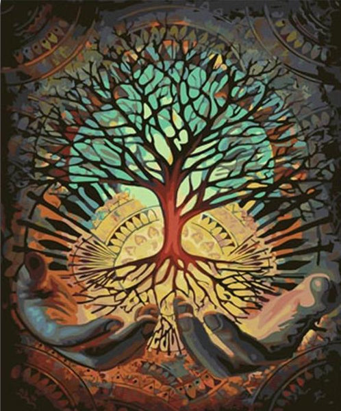 Vintage tree of time painting by numbers