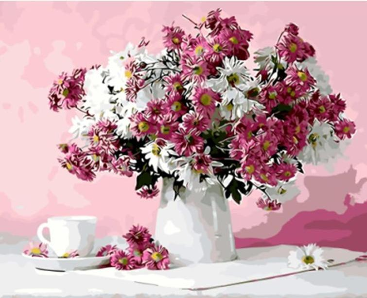 Pink & White Flowers in a Vase with Cup of Tea
