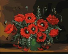 Load image into Gallery viewer, red flowers paint by number adults