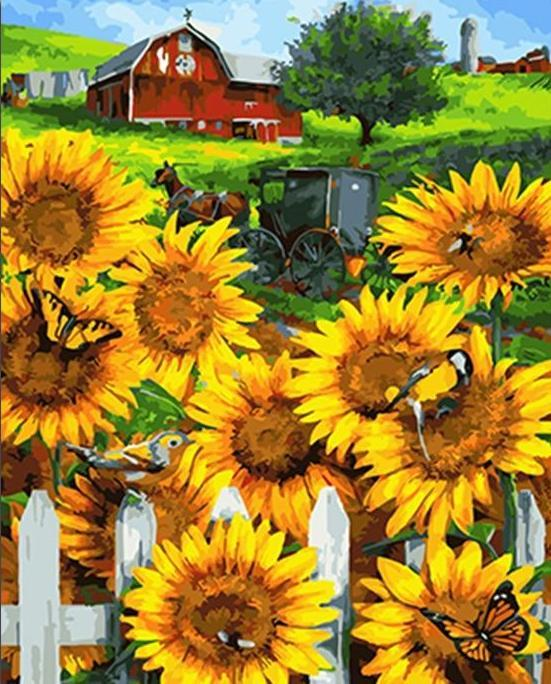 A Home View with Yellow Sun Flowers