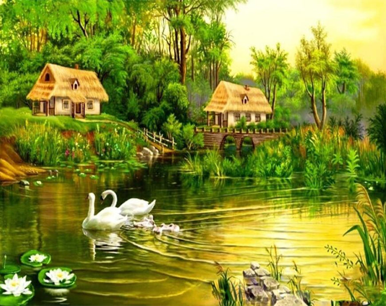 A Swan Family & Green Forest