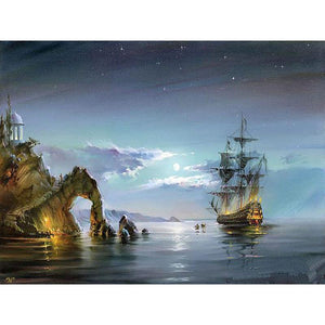 Ship in the Ocean Paint by Numbers DIY