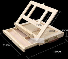 Load image into Gallery viewer, Portable Wooden Box with Sliding Drawer for Art Supplies