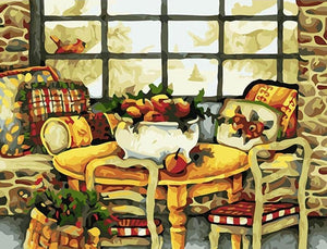 Dinning Table & Basket full of Fruits