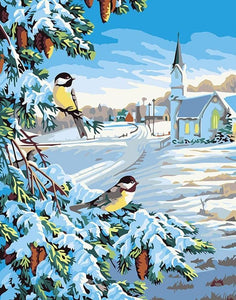 Snow & Birds Paint By Numbers Kit