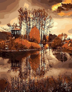 Autumn Trees & River Painting