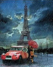 Raining on Eiffel Tower