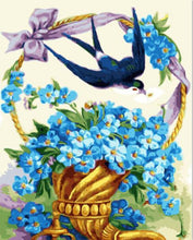 Load image into Gallery viewer, A Bird & A Basket of Blue Flowers