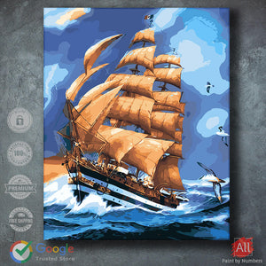 Ship in the High Waves Painting by Numbers