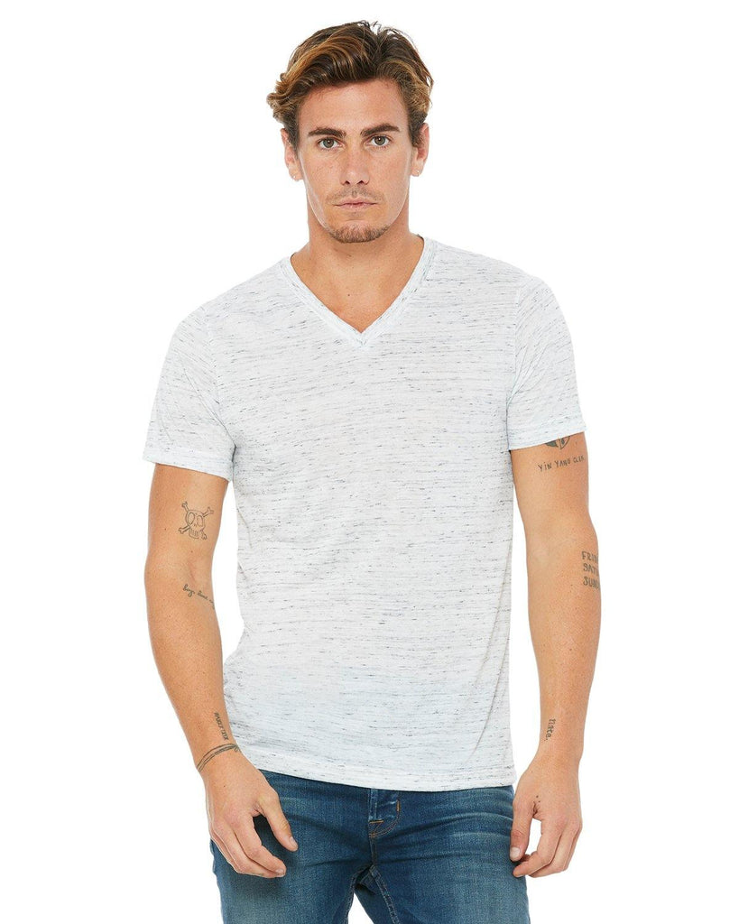 Unisex Short Sleeve V Neck Tee Shirt- White Marble - Bella + Canvas